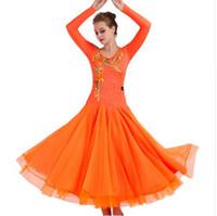 ingrosso costumi da ballo rosa-Ballroom Competition Dance Dresses Women 2019 New Long Sleeve Elegant Flamenco Dancing Costume Vestito da ballo standard arancione