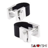 ingrosso migliori gemelli della moda uomo-Savoyshi catena in pelle gemelli per mens francese bottoni della camicia bottoni di alta qualità nero gemelli moda uomini gioielli di marca regalo c19041703