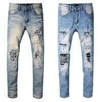 Wholesale jeans for sale - Amiri Mens Distressed Ripped Biker Jeans Slim Fit Motorcycle Biker Denim Jeans Hip Hop Designer Pants Amiri Mens Jeans