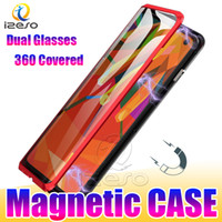 Wholesale dual magnet for sale - Dual Glass Magnetic Phone Case for Samsung S10E S10 S9 Plus NOTE9 Covered Adsorption Magnet Metal Cases with Double Tempered Glass izeso