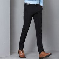 официальные брюки для мужчин оптовых-Black Stretch Skinny Dress Pants Men Party Office Formal Mens Suit Pencil Pant Business Slim Fit Casual Male Trousers