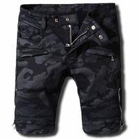 Wholesale black ripped skinny jeans plus size for sale - Balmain Mens Jeans Shorts Motorcycle Biker Jeans Rock Revival Short Pants Skinny Slim Ripped Hole Mens Denim Shorts Designer Jeans