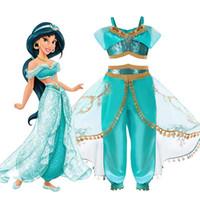 märchen kleidung großhandel-Babys Märchen Cosplay Röcke grüne Farbe Straps Mädchen Kostüme Kleid mit langen Umhang Kinder performa Kleidung