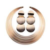 14 ayar altın düğün takımları toptan satış-Altın / Gümüş Afrika Takı Seti Yuvarlak Çoklu Tellerinin Gerdanlık Kolye ve Küpe Seti Kadınlar için Düğün Parti Dekorasyon JL