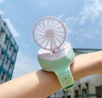 Wholesale mini hours resale online - Portable Mini watch Fan Folding Fashion Pocket USB Rechargeable pocket Classroom office cute Hot summer electric Watch Shape fans Kids gift