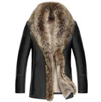 casaco de pele de homem venda por atacado-O envio gratuito de inverno dos homens novos homens de jaqueta de couro de luxo lapela casaco de pele de veludo grosso masculino Business Casual Outerwea