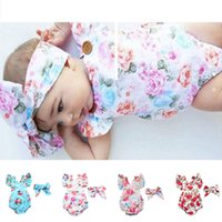 Wholesale jumping baby clothes for sale - Group buy Newborn Toddler Baby Girls Floral Romper Bodysuit with Hairwrap Head Band Summer Sleeveless Jump Suit Climbing One piece Clothing D3304