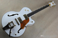 Wholesale falcon guitar body for sale - Group buy Ebony fingerboard THE WHITE FALCON Semi Hollow Body Electric Guitar With Bigsby Tremolo