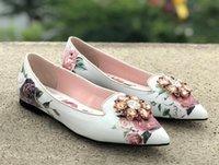 florale pumpenfersen großhandel-2019 Braut Hochzeit Schuhe Rose Partei-spitze Zehe-Blumen-Stilettos Heels Heels Luxuxkristallglas Pumps Floral High Heels Drucken