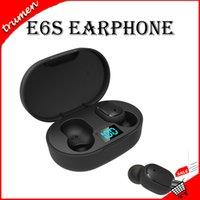 blackberry headphones mic großhandel-Mini TWS Wireless-Earbuds E6S Kopfhörer Hifi Sound-Bluetooth-Kopfhörer 5.0 mit Dual Mic Led Display Kopfhörer Auto Pairing Headsets