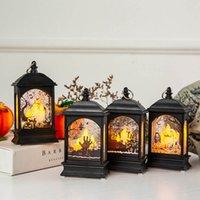 ingrosso illuminazione halloween d'epoca up-Halloween illumina il giocattolo Vintage LED Lanterna Zucca Castello Fantasma Lampada a mano Ornamenti di candele Appeso Decorazioni per la casa