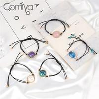 jóia acrílica da ligação venda por atacado-Comiya Braceletes Para As Mulheres Corda Links Acrílico Pérolas Contas De Cristal Encantos Declaração Acessórios Moda Pulseira de Jóias Coreanas