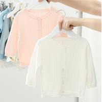 ingrosso maglioni bianche-Everweekend Toddler neonate lavorate a maglia all'uncinetto rosa candido colore bianco primavera autunno moda maglione giacca outwears