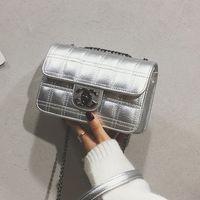 Wholesale beaded wedding purses resale online - womens bag new Korean fashion chain bags shoulder diagonal grid Spiraea bag wild Handbags Purses G18