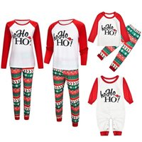 Wholesale family suits resale online - Family Christmas Pajamas Suit Deer Print Mother Father Kids Family Sleepwears Parent child Clothes Family Matching Outfits SH190916