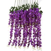 ingrosso viti di seta di glicine per il matrimonio-Seta artificiale Wisteria Vine Ratta Silk Hanging Flower Wedding Decor, 6 pezzi, (viola)