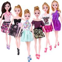 schöne tops für mädchen großhandel-10 stück Puppe Kleid Schöne Outfit Handgemachte Party Kleidung Top Mode Rock Für Barbie Edle Puppe Beste Kind Girls'Gift Nach dem Zufall