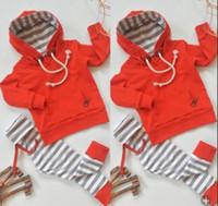 calças de menino vermelho venda por atacado-Infantis Bebés Meninos roupas vermelhas listradas Hoodie Pants 2-piece set criança Vestuário casual roupa do bebê manga comprida Kid Roupas 0--24M