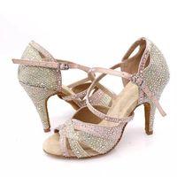 tren talón al por mayor-Zapatos de baile latino Mujer textura Rhinestone Sasha zapatos de 10 cm 9 cm de tacón alto Tango Bachata Kizomba Formación zapatos nuevo estilo