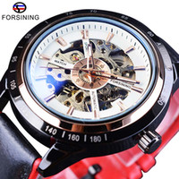 Wholesale pins motorcycle resale online - Forsining Watch Bracelet Set Combination Motorcycle Transparent Genuine Red Black Strap Skeleton Male Automatic Watches Clock