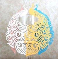 cartões do lugar do vidro cortado do laser venda por atacado-2019 Cartão de vidro lindo pavão Laser Wine Cut Nome Lugar Escort Cup Cartões Bebê Chuveiro Wedding Decorações do partido de aniversário