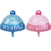 dalga balonları toptan satış-Onun Bir Kız Erkek Doğum Günü Şapka Balon Bebek Duş Dalga Noktası Pembe Mavi Alüminyum Filmi Balon Parti Dekorasyon 1 05xtD1