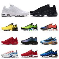 Wholesale white yellow painting for sale - Group buy 2020 TN plus running shoes for men triple black white red Hyper blue Throwback future Spray paint sports sneakers trainers size