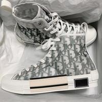 mens canvas high top spor ayakkabıları toptan satış-Çiçekler Teknik Tuval B23 Yüksek Üst Sneakers Eğik Erkek Lüks Tasarımcı Ayakkabı Bayan Moda B22 B23 B24 B01 B02 Sneakers Sneakers