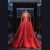 Wholesale elie saab satin gown for sale - Group buy 2020 Elie Saab Red Formal Celebrity Wear Evening Dresses A Line Maxi Dress Sheer Bodice Long Sleeves Appliques Prom Party Gowns