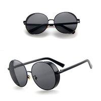 yuvarlak steampunk güneş gözlüğü gözlükleri toptan satış-Jyjewel Steampunk Güneş Kadınlar Erkekler Retro Gözlük Yuvarlak Flip Up Gözlük buhar punk Vintage Moda Gözlük ulculos de sol