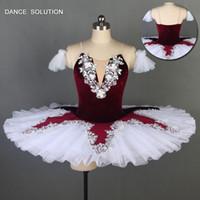 bauchtanz applikationen großhandel-Burgunder Pre-Professional Ballett Ballett-Ballettröckchen aus Tutu mit weißen Applikationen Tutu Dance Costume