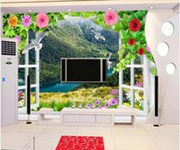 Wholesale windows live tv for sale - 3d room wallpaper custom photo non woven mural Living room D window flowers forest scenery TV background wall wallpaper for walls d