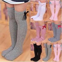 çocuklar diz botları toptan satış-6 stlyes Çocuklar kızın Tatlı Prenses Ilmek Çizgili Çizme Çorap Kış Diz Yüksek Sıcak Sevimli Çorap