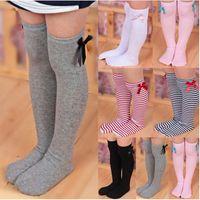 calcetines botas de rodilla para niñas al por mayor-6 stlyes Sweet Girl Bowknot Striped Boots calcetines de la muchacha de los niños del invierno rodilla alta cálidos calcetines lindos