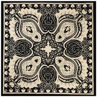 ingrosso fazzoletto da collo oro-New Silk Scarf Women Square Scarves Wraps Spain Cashew Stampa classica in bianco e nero con pois dorati Neckerchief Female Silk Hijab 100cm