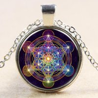 Wholesale european trading products resale online - European and American new products Rubik s cube sacred geometry pattern time gemstone glass necklace foreign trade silver plated sweater cha