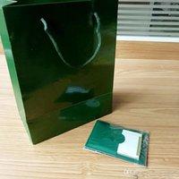 yeni hediye kağıdı toptan satış-Yalnızca Orijinal Kutusu Kağıtlar Ve Kart! Rolex İzle Kutusu İçin Yeni Stil Marka Yeşil İzle Orjinal Kutusu Kağıtlar Hediye Saatler Boxesbag Kartı