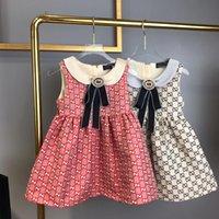 yeni pamuklu elbiseler stilleri toptan satış-Yeni stil 2019 Yaz çocuklar Elbise Kız Kolsuz% 100% Pamuk Elbise Bebek Kız yay elbiseler