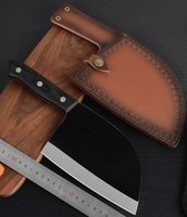 Wholesale butcher knives for sale - Group buy Butcher Cleaver Kitchen knife Chef s Knives Stainless Steel Meat Kitchenware Blade Wood handle Sheath