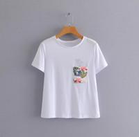 mulheres brancas básicas da camisa de t venda por atacado-Mulheres Básico Branco camiseta bolso Decorar O pescoço de Manga Curta Tees Feminino Casual Verão Tops Chiques Camisetas