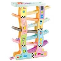pistas de plástico del coche al por mayor-Ranura de plástico Track Car Toys Modelo Baby Kids Ladder Gliding Rail Racing Cars Diapositiva educativa para niños Boy Vehículos Regalos