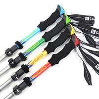Wholesale folding hiking sticks for sale - Group buy 5 Joints Fold Walking Stick Portable Outdoor Lock Alpenstocks Aluminium Alloy Ultra Short Trekking Poles On Foot Hiking gt N1