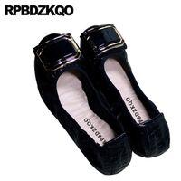 mocasin azul zapatos mujeres al por mayor-Gran tamaño serpiente 10 mujeres mocasines negros 2019 bailarina de charol trabajo metal 11 zapatos grandes azul marino azul ballet flats