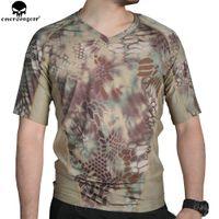 taktisches t-shirt großhandel-EMERSONGEAR Tactical Camo T-Shirt Jagd Camo Running Enge Unterwäsche Tarn T-Shirt Atmungsaktives Schweiß Shirt EM9167