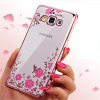 Wholesale phone case Secret Garden Diamond Case for samsung s9 s8 note9 Chic Flower Bling Soft TPU Clear Electroplating Phone Back