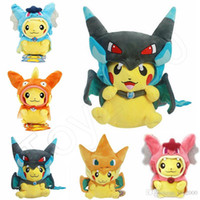 Wholesale cosplay plush resale online - 25cm Cosplay Plush Dolls Toys Children Pikachu Charizard Slowpoke Magikarp Plush Dolls Toy Cloak Pikachu kids toys
