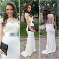 Wholesale hollow plus size special occasion dresses for sale - Charming White Chiffon Prom Dress Backless Evening Formal Dress Women Dress Special Occasion Dresses Hollow Short Sleeve Jewel Sweep Train