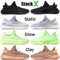 zebra koşu ayakkabıları toptan satış-Yansıtıcı Kanye West Antlia Synth Siyah Yansıtıcı Gid Glow Gerçek Formu Kil Statik Erkek Kadın Koşu Ayakkabıları Zebra Tasarımcı Sneakers