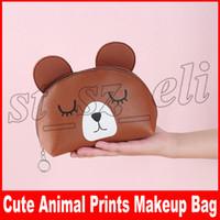Wholesale panda cartoon case online – custom Cute Portable Cartoon Animal Bear Pig Panda Prints Coin Storage Case Travel Makeup Pouch Cosmetic Bag Styles