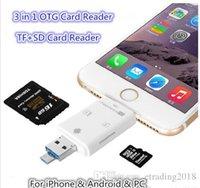 lecteur de carte iphone sd achat en gros de-Brand New 3 en 1 lecteur i-Flash Multi-Card OTG Reader Adaptateur de lecteur de carte mémoire micro SD TF pour iPhone 8 7 6 Andriod PC